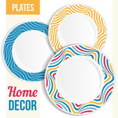 Set of decorative plates. — Vettoriale Stock