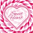 Sweet heart - background with candy cane spiral — Stock Vector #62250493