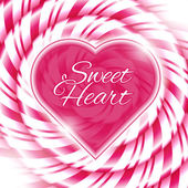 Sweet heart - background with candy cane spiral — Stock Vector