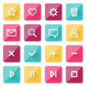 Elementi di design piatto ui - un insieme di icone web base — Vettoriale Stock