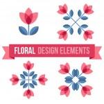 Set of design elements - retro flowers — Stock Vector #70841241