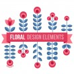 Set of design elements - retro flowers — Stock Vector #70937195