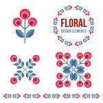Set of design elements - retro flowers — Stock Vector #70937419