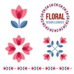 Set of design elements - retro flowers — Stock Vector #70937425