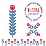 Set of design elements - retro flowers — Stock Vector #70937431