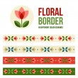 Set of design elements - floral borders — Stock Vector #71325579