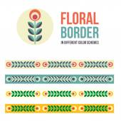 Set of design elements - floral borders — Stock Vector