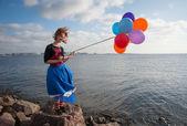Dívka s balónky — Stock fotografie