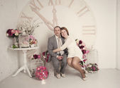 Man and woman in hours — Stock Photo
