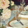 Close up of formal table setting — Stock Photo #60870711
