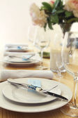 Table setting with blurred background for text — Stock Photo