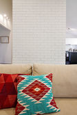Interior architectural brick feature wall with space for text — Stock Photo