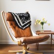 Vintage retro tan leather danish chair and table — Stock Photo #62393121