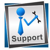 Support Square Blue Grey — Stock Photo