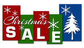 Christmas Sale Red Green Blue Stripes — Stock Photo