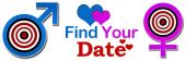 Find Your Date Target Banner — Stock Photo