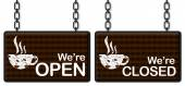 Coffee Open Closed Signboards — Stock Photo