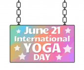 Yoga dag färgglad skylt — Stockfoto