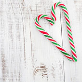Candy canes as heart — Stock Photo