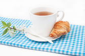 Tea cup with croissant and a sprig of cherry blossoms — Stock Photo