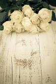 Roses on the Wooden Table — Stock Photo