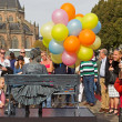 Arnhem, Netherlands - September 28, 2014: Girl with balloons on chair during the world championships living statues in Arnhem — Stock Photo #54339871