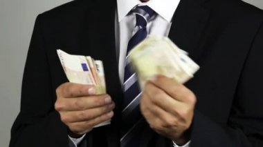 Euro banknotes, corruption — ストックビデオ