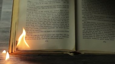 Burning edge of an antique book — Stock Video