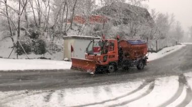 German winter service, heavy snowfall — Stock Video
