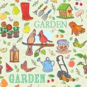 Gardening set seamless pattern — Stock Vector
