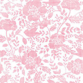 Pink textile birds and flowers seamless pattern background — Stock Vector