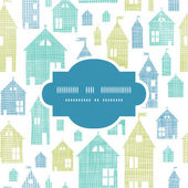 Houses blue green textile texture frame seamless pattern background — Stock Vector
