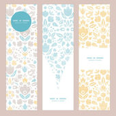 Abstract vintage ornamental tulips textile vertical banner set pattern background — 图库矢量图片
