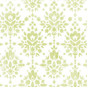 Green textile damask flower seamless pattern background — Stock Vector