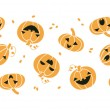 Smiling Halloween pumpkins horizontal seamless pattern background — Vector de stock  #53843133