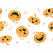Smiling Halloween pumpkins horizontal seamless pattern background — Vettoriale Stock  #53843133