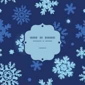 Vector glitter snowflakes dark frame seamless pattern background — Stock Vector