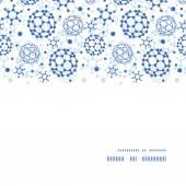 Vector blue molecules texture horizontal frame seamless pattern background — Stock Vector