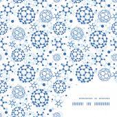 Vector blue molecules texture frame corner pattern background — Stock Vector