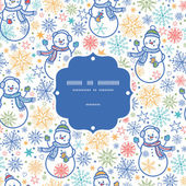 Vector cute snowmen frame seamless pattern background — Stock Vector