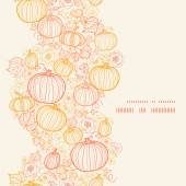 Vector thanksgiving line art pumkins vertical frame seamless pattern background — Stock Vector