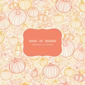Vector thanksgiving line art pumkins frame seamless pattern background — Stock Vector