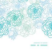 ベクトル青ライン アート花水平フレームのシームレスなパターン背景 — ストックベクタ