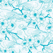 Blue birds with blossoms seamless pattern background — Stock Vector