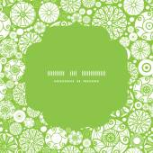 Vector abstract green and white circles circle frame seamless pattern background — ストックベクタ