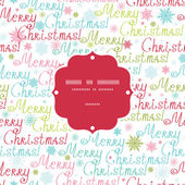 Vector merry christmas text frame seamless pattern background — Stock Vector