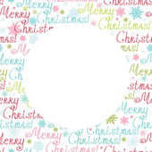 Vector merry christmas text circle frame seamless pattern background — Stockvektor
