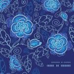 Vector blue night flowers frame corner pattern background — Stock Vector #55520739