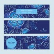 Vector blue night flowers horizontal banners set pattern background — Stock Vector #55520865