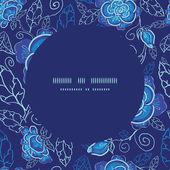 Vector blue night flowers frame seamless pattern background — Stock vektor